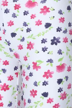 Girls Floral Print and Solid Capris - Pack Of 2