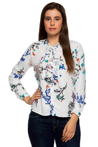 Womens Tie Up Neck Printed Shirt