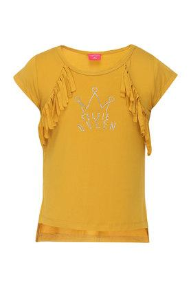 Girls Round Neck Fringe Printed Top