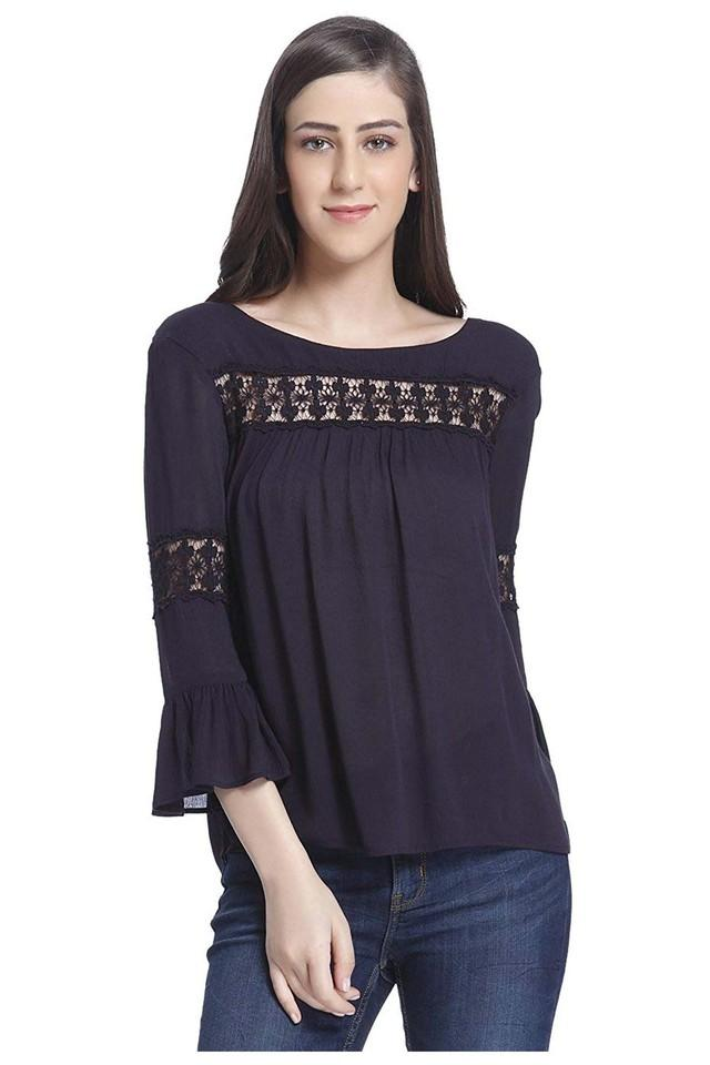 Womens Round Neck Solid Lace Trimming Top