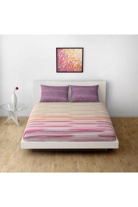 SPACESPrinted Brush Stroke Double Bed Sheet With Pillow Cover