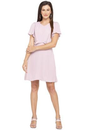 Womens V Neck Stripe Skater Dress