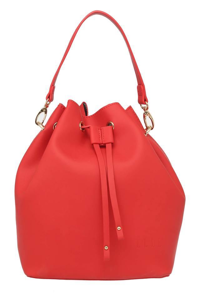 Womens Drawstring Closure Tote Handbag