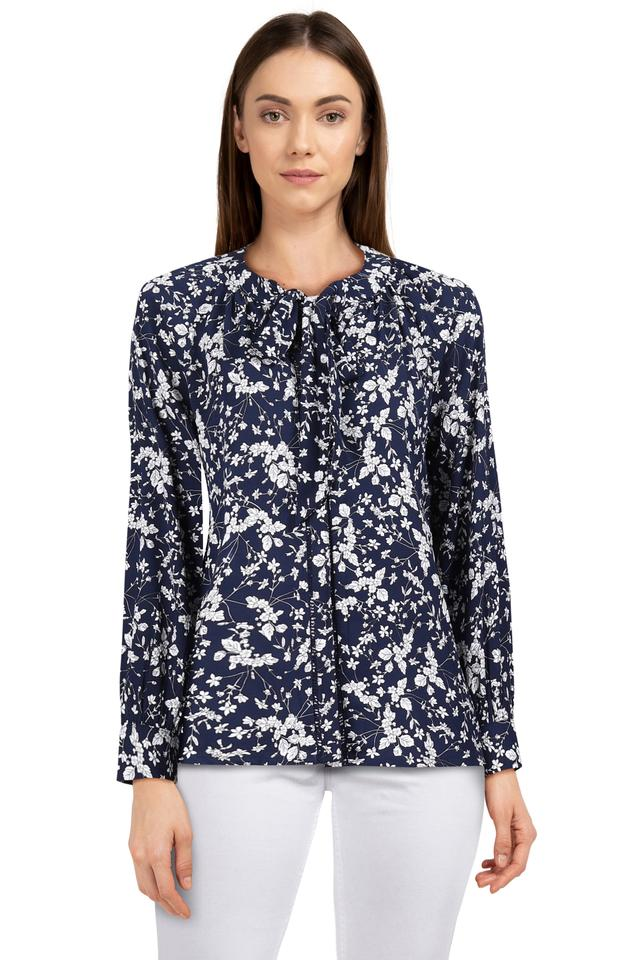 Womens Tie Up Neck Floral Print Tunic