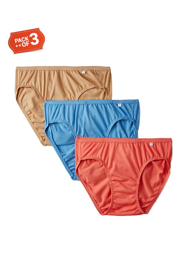 Womens Low Rise Solid Bikini Briefs - Assorted Pack Of 3