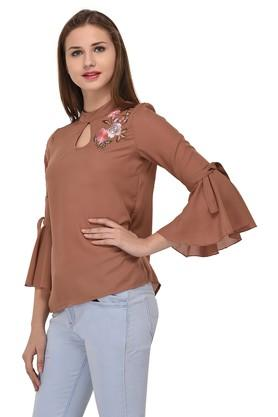 Womens Band Collar Embroidered Solid Top