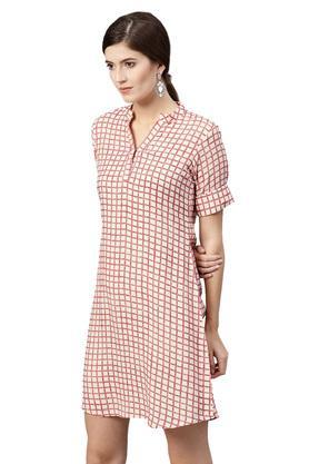 Womens Mandarin Collar Checked A-Line Dress