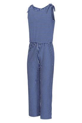 Girls Round Neck Stripe Jumpsuit