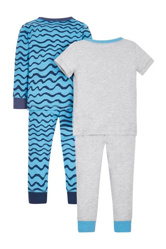 Boys Round Neck Printed Top and Pants - Pack Of 2