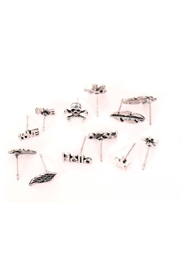 Womens Silver Plated Metal Studs Earrings - Pack Of 6