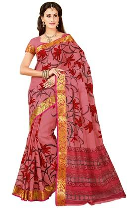 ASHIKA Printed Cotton Saree With Blouse Piece