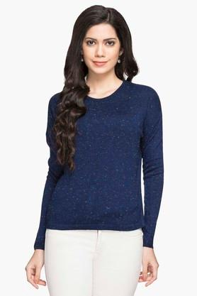 MSTAKEN Womens Round Neck Printed Sweater