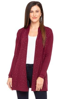 109F Womens Open Front Embellished Shrug