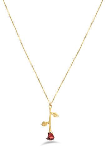 Womens Rose Stem Chain Necklace