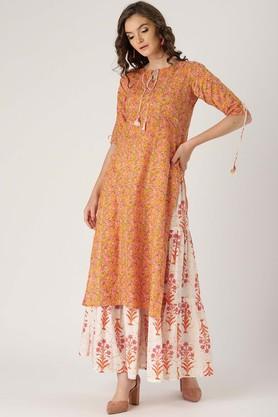 Womens Tie Up Neck Floral Print Kurta and Skirt Set