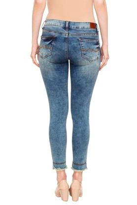 Womens 5 Pocket Acid Wash Jeans