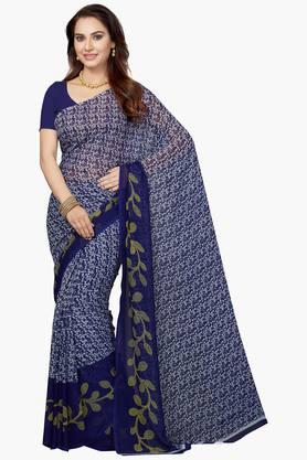 ISHIN Womens Poly Georgette Printed Saree