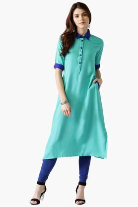 Womens Rayon Solid A-Line Kurta With Pockets