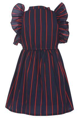 Girls Mandarin Collar Striped Knee Length Dress