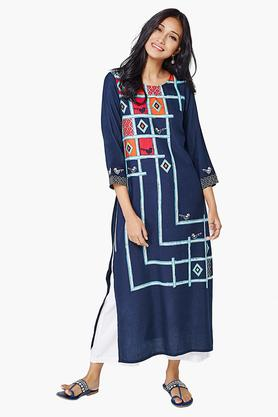 GLOBAL DESI Womens Printed Calf Length Kurta