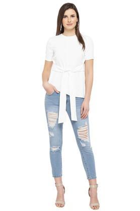 Womens 5 Pocket Distressed Boyfriend Jeans