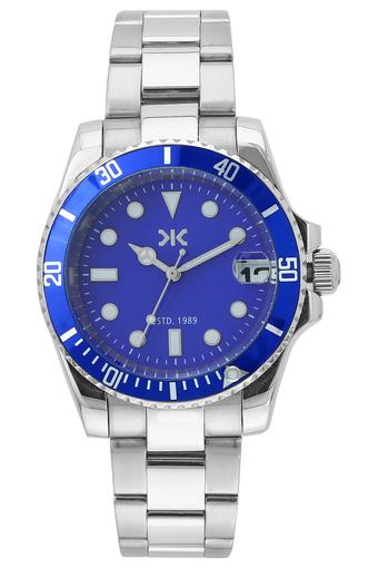 Mens Blue Dial Metallic Analogue Watch