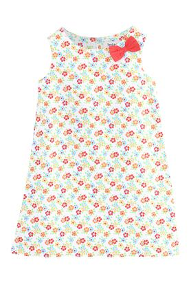 Girls Round Neck Floral Print A-Line Dress with Bow