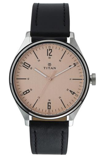 Mens Pink Dial Leather Analogue Watch - 1802SL03