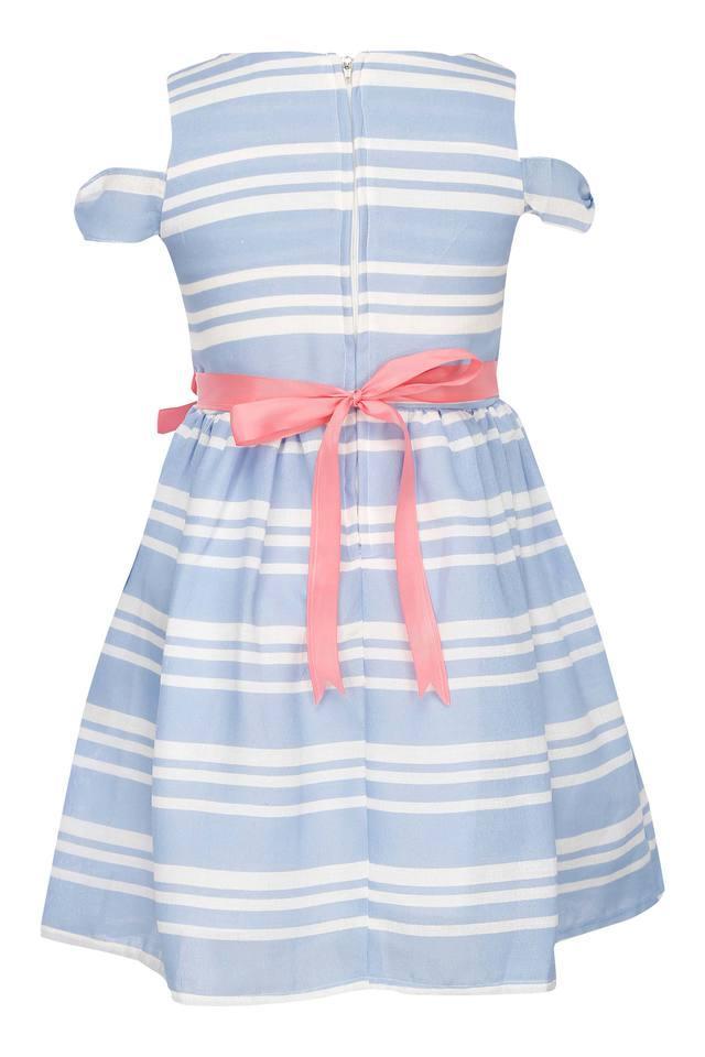 Girls Round Neck Stripe Flared Dress