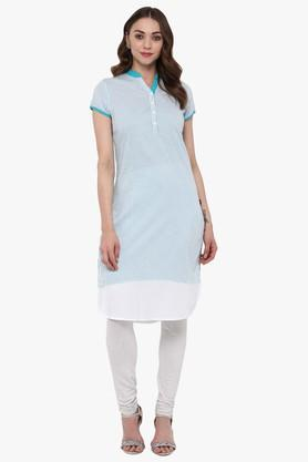 JUNIPER Womens Striped Straight Kurta With Curved Hemline