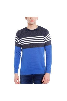 EASIES Mens Round Neck Colour Block Sweater