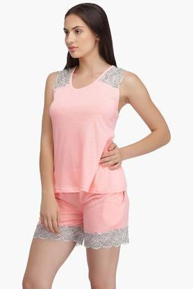 Womens Round Neck Self Pattern Top and Solid Shorts Set