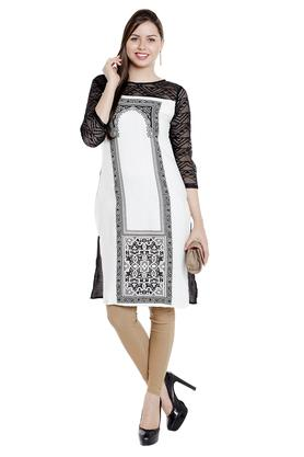 FUSION BEATS Womens Round Neck Printed Kurta - 203234995