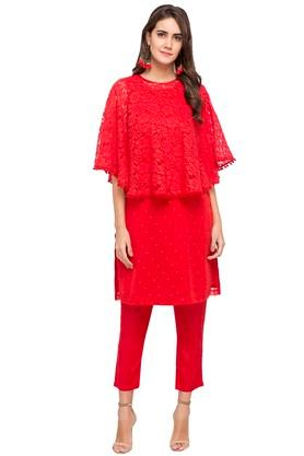 RANGRITIWomens Round Neck Lace Kurta Salwar Set