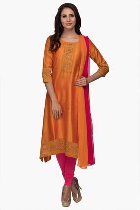 IMARAWomens Round Neck Embellished Churidar Kurta Dupatta Set