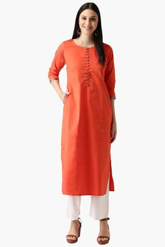 Womens Cotton solid Straight Kurta with Pockets