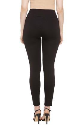 Womens 2 Pocket Solid Leggings