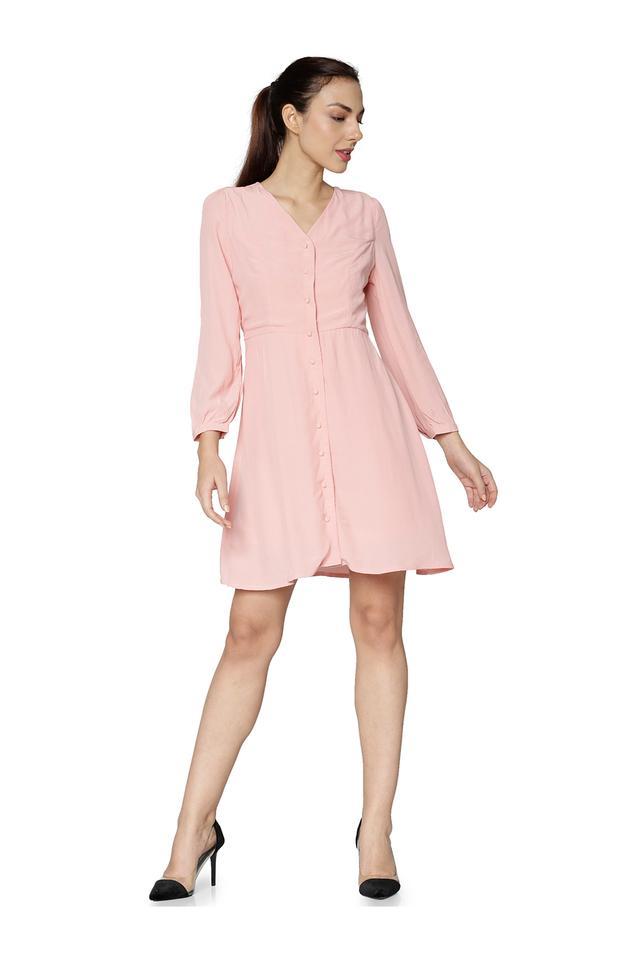 Womens V Neck Solid Shirt Dress