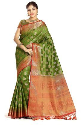 DEMARCA Womens Art Silk Tussar Designer Saree - 204100135_9463