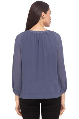Womens Round Neck Solid Tunic