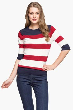 EXCLUSIVE LINES FROM BRANDS Womens Round Neck Printed Sweater