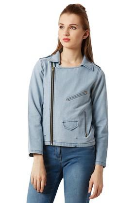 Womens Relaxed Fit Collared Rinse Wash Bikers Jacket