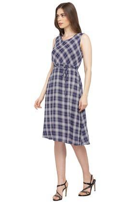 Womens Round Neck Checked Knee Length Dress