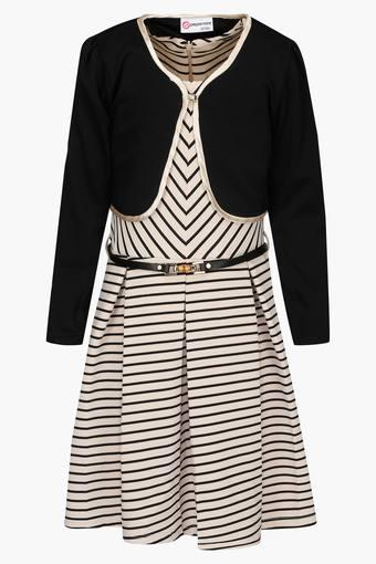Girls Round Neck Stripe Pleated Dress with Shrug