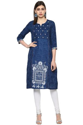 Womens Round Neck Printed Embroidered Kurta