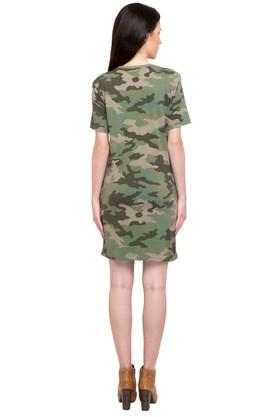 Womens Round Neck Camouflage T-Shirt Dress