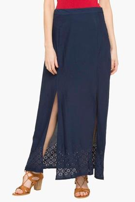 HAUTE CURRYWomens Solid Slited Long Skirt
