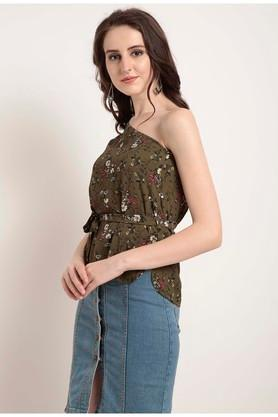 Womens One Shoulder Printed Top