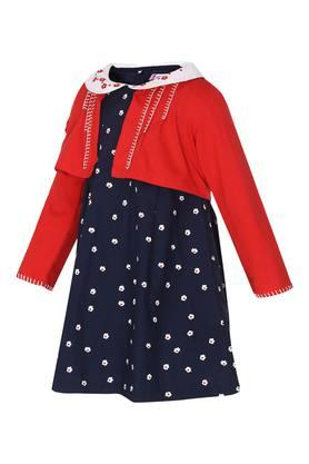 Girls Peter Pan Neck Printed Flared Dress with Shrug