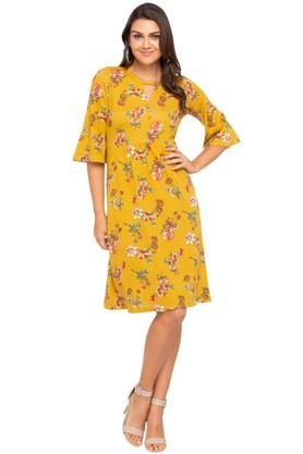 Womens Key Hole Neck Floral Print Knee Length Dress